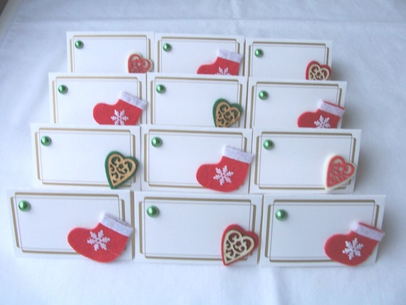 Christmas Name Tags: 10 Christmas Stocking And Heart Seating Place Cards Felt
