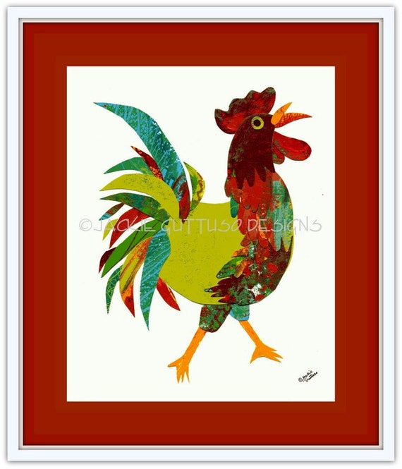 Rooster Art Original Rooster Collage Whimsical Rooster