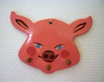 One Mean Little Pig, Vintage Finland Wall Hook, 1970s Hand Painted Wood, Pink