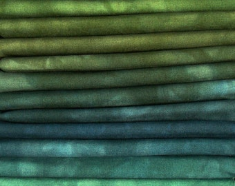 FREE SHIPPING - Hand Dyed Cotton Quilt Fabric - Rainforest