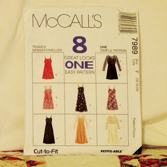 CLOTHING PATTERN 1995 McCALLS 7989 Size 16 18 20 Womens Dress 4-oz