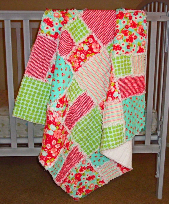 Baby Flannel Rag Quilt Designer Fabrics Red Turquoise Green Pink Floral Stripes Dots Blanket Picnic Throw 100% Cotton
