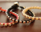 Leather Wrap Bracelets - Rhinestones