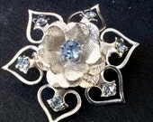Vintage 1960's Sterling Silver and Blue Austrian Crystal Floral Motif Brooch