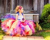 Rainbow Love- Rainbow flower girl tutu dress with removeable sash satin singed flower perfect for Rainbow Colorful themed Weddings