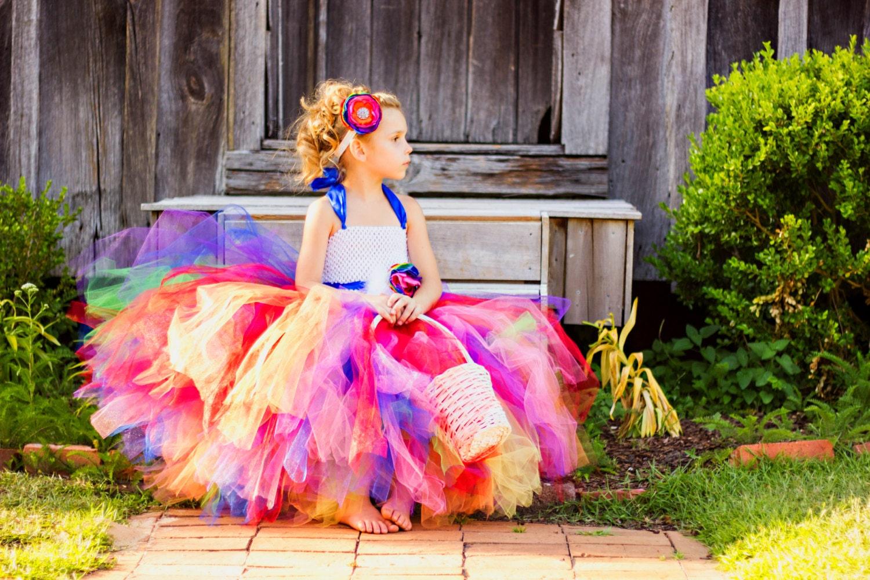 Rainbow Love Rainbow Flower Girl Tutu Dress With Removeable