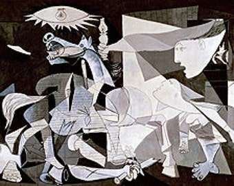 Picasso (Guernica, 1937) Canvas Art Print Reproduction (12.4x28 in) (31.6x71 cm)