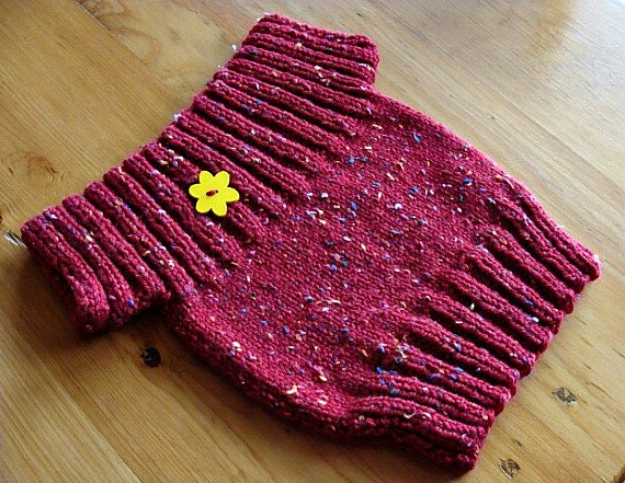 Hand Knit Baby Girl Sweater Red Size 18-24 Months