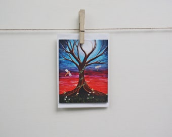 Blank Note / Gift Card - Ethereal Forest Moon Dragonfly Art featuring my Acrylic Painting