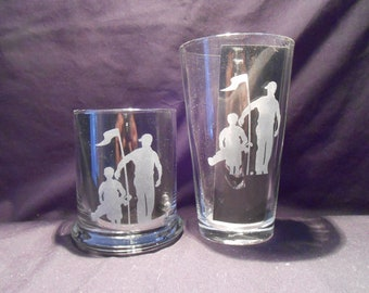 Set of 4 etched glasses, rock size ...16 oz. or tall size ...12 oz.
