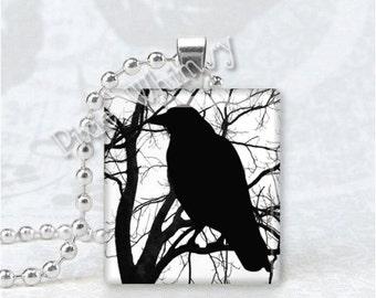 RAVEN BLACK BIRD In Tree Scrabble Tile Art Pendant Charm