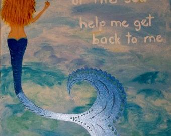 Original Acrylic Painting-Art Beach Decor Mermaid Picture 18 X 24