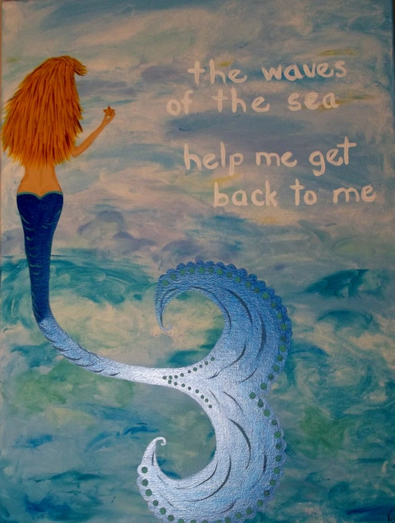 ... Acrylic Painting-Art Beach Decor Mermaid Picture 18 X 24 on Etsy