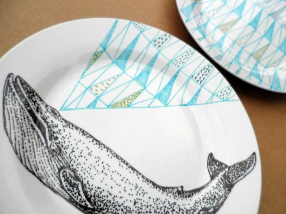 Blue Whale Geometric Design Plates hand illustrated porcelain