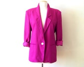pink linen blazer / 80s jacket / 80s pink jacket womens / pink blazer / 1990s clothing