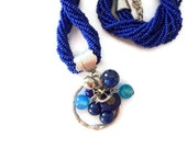 HANDMADE, Night blue seed beads necklace, glass beads necklace.gift necklace, dark blue necklace,