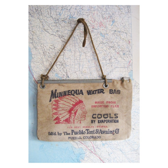 vintage Minnequa water bag with native american with feather headdress