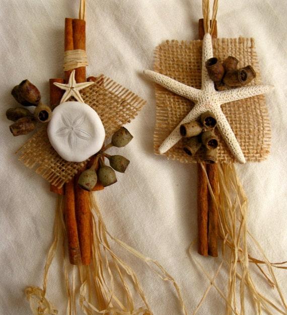 Christmas Ornaments 2 Natural Cinnamon Sticks And Shells