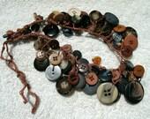 Brown & Blue Button Necklace