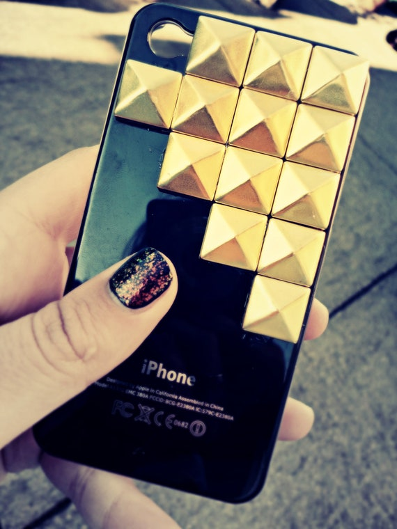 gold on black studded iphone 4 case