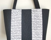 Large Quilted Tote bag in black and white music notes and treble clefs patchwork purse 10% off