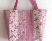 Medium quilted pink Lecien floral stripe patchwork purse 10% off