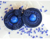 ROUND GLORIA NAVYBLUE - handmade soutache earrings - AdityaDesign