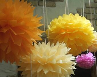24 Tissue Paper Pom Poms - Choose your Colors - Wedding Decor - Party Decor - Home Decor