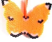 ORNAMENT - BEADED BUTTERFLY - Handmade - Perler Beads - Orange - Black - Home Decor