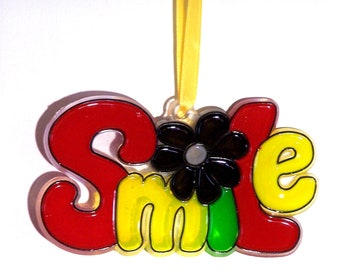 ORNAMENT - SMILE- Acrylic - Red - Yellow- Green-Black - Handpainted Home Decor