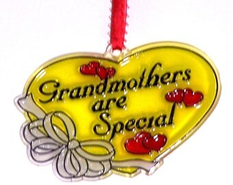 ORNAMENT - Grandmothers Are Special- Acrylic - Red - Pink -Yellow- White- Handpainted Home Decor