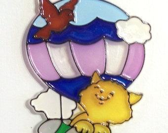 ORNAMENT - Kitten In Balloon - Acrylic - Yellow - Purple - Blue - Green - Red - Hand Stained