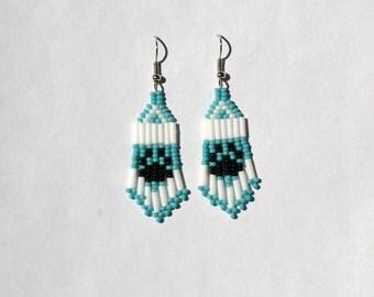 Seed Bead Paw Print Earrings