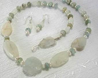 White Moonstone, Aquamarine and White Freshwater Pearl Necklace and Earring Set