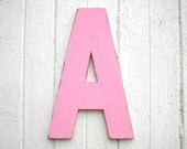 "Kids Wall Art Wooden Letter ""A"" 18"" Shabby Chic Wall Decor Baby Shower Baby Initial Pink"