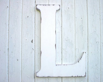 "Wedding Guest Books alternatives 24"" Letters L White Shabby Chic Vintage Style"
