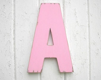 "Wooden Letters  ""A"" 12 inch Alphabet Signs Nursery Baby Girl Kids Wall Art Pink"