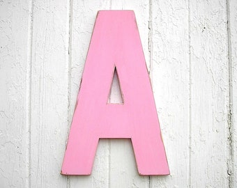 """Wooden Letters """"A"""" 18"""" Shabby Chic Decor Kids Wall Art Decor Baby Shower Baby Initial Pink"""