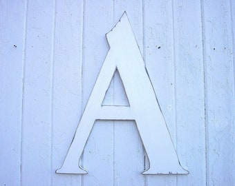 """Wooden White Letters A 24"""" Shabby chic Nursery initial Kids Wall Art Rustic Cabin decor"""