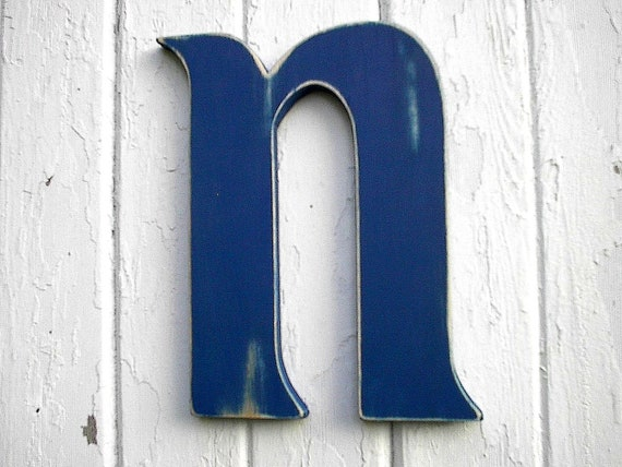 Wooden Letter N Shabby Chic Nursery Kids Initial Navy Blue Alphabet Wall Hanging Art Letter Sign