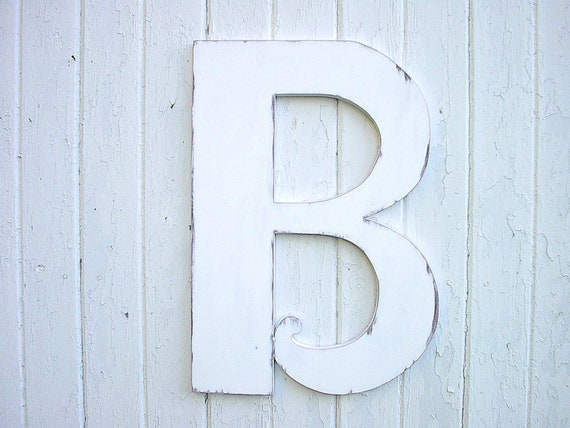 Wooden letters b 24 distressed white large wedding decor for Big wooden letter b
