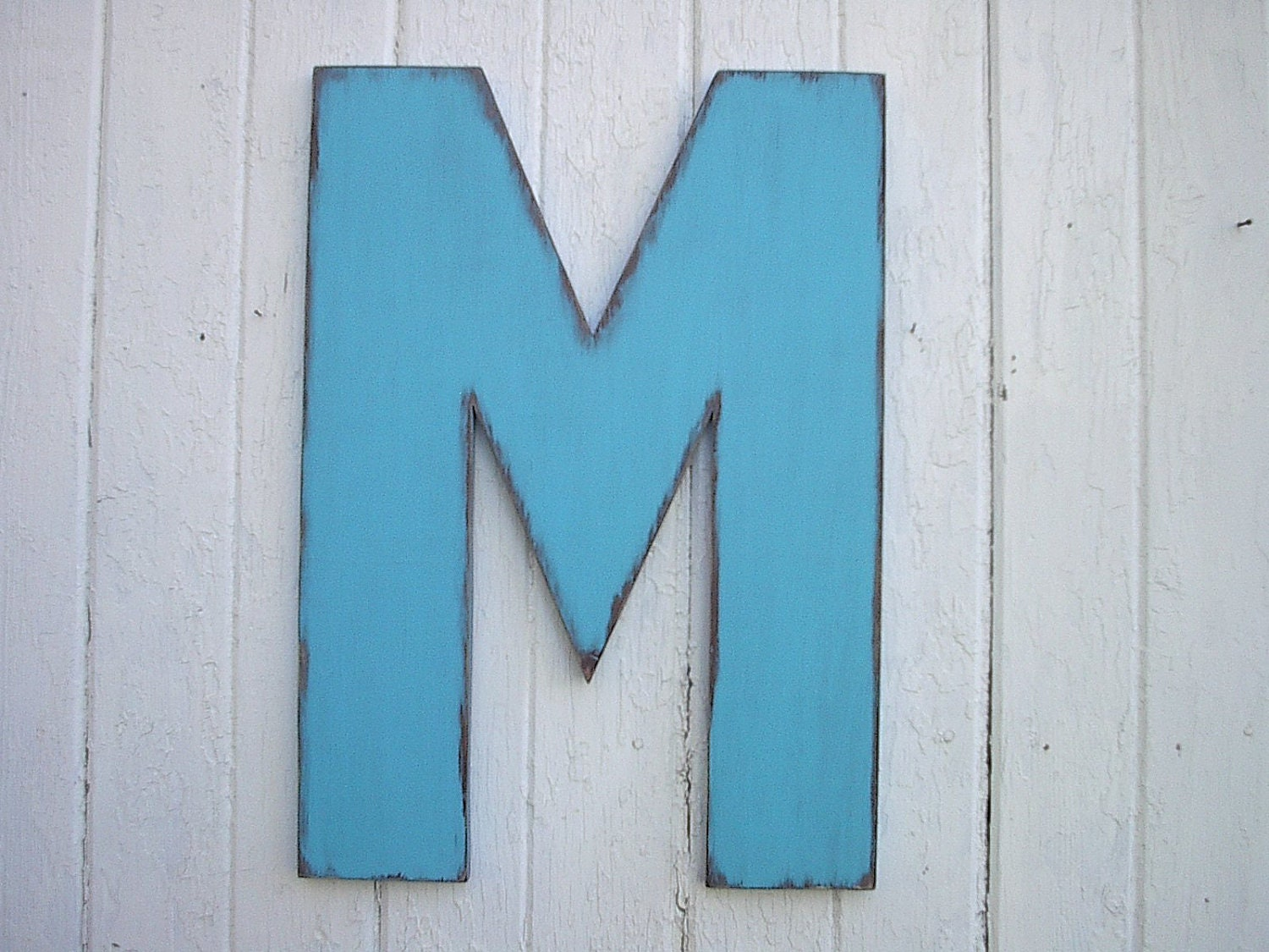 wooden letters m 24 blue shabby chic rustic wall art decor cabin distressed sign housewares wedding gifts vintage style look