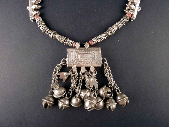 Collar étnico de plata de Yemen, joyería étnica y tribal, plata beduina, joyas