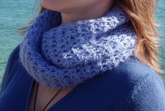 PDF PATTERN step-by-step TUTORIAL Crochet cowl, lace blue ...