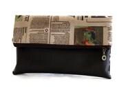 women clutch,wristlet, purse brown & newspaper print fabric ,  wallet