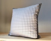 LITTLE SQUARES PILLOW in silver on Davy's grey / original design eco-friendly printing / natural linen / cover pillow 16x16 in 40x40 cm