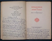 "1917 ""Renascence and Other Poems"" by Edna St. Vincent Millay - 8th Printing of Book"