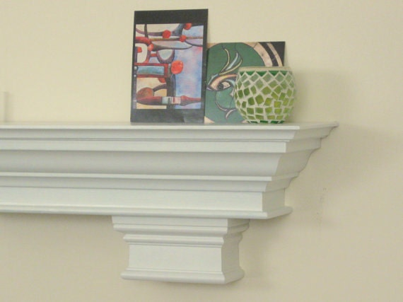 72 White Fireplace Mantle Shelf With Crown Molding And