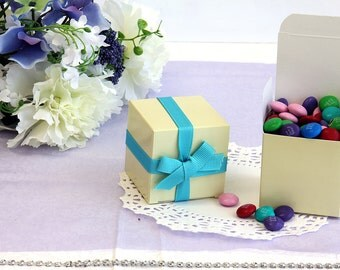 50x Ivory Wedding Favor Cube Boxes-Bridal Shower-Baby Shower-Party Favor-Candy Gift Box-2x2x2