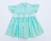 Vintage 1940's Baby Girl Dress, aqua, homemade, diamond pattern bust, short sleeves - HeySweetiePieShop